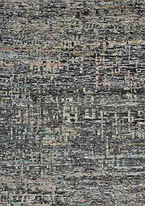 Modern Abstract Sari Silk Rug, 5'x8', Black, Hand-Knotted Silk Pile