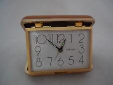 Vintage Bulova Japan Travel Alarm Clock Wind Up With Tan Case