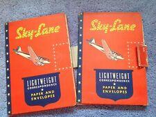 2 Vintage set Sky-Lane 1943 AIR MAIL PAPER-  of 40 Paper & 10 Envelopes