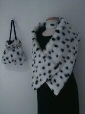 Cruella De Ville 101 Dalmatian Shawl Bag Choker UK Handmade Fancy dress Black