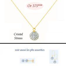 Chaine Or 9K 42 cm Pendentif Boule 8mm Pavé Cristal de Swarovski   Dolly-Bijoux
