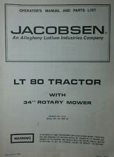 Jacobsen LT 80 Lawn Tractor & 34 Mower Owner & Parts Manual 40p FORD 1976 Riding
