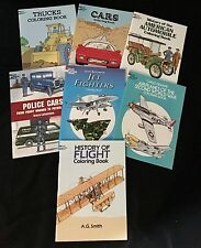 """~TRUCKS, PLANES, POLICE CARS ~ """"SET of SEVEN (7) Coloring Books !!  History Of.."""