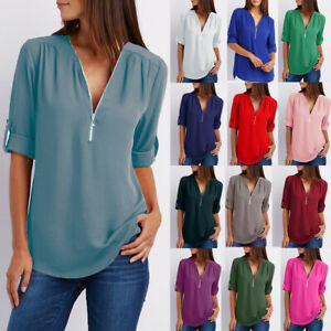 Womens Blouse Long Sleeve Pullover Zip Plain Casual Work Chiffon Tee Shirt Tops