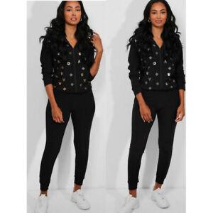 2PCS New Women Ladies Black Hoodies Tracksuits Set Loungewear Top Suit Pants
