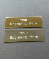 Self adhesive Engraved plaque /plate 50mm x 25mm Gold or Silver Great for frames
