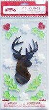 NEW Christmas Winter STAG Holly Snowflakes window Gel Clings 15 pcs Decorations