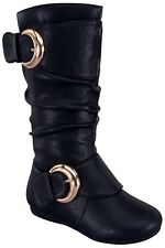New Womens Vegan Leather Slouchy Comfy Tall Mid Calf Flat Boots Buckle Strap Zip