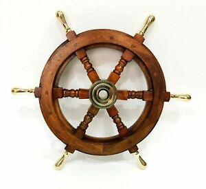 Halloween Brass Handle Wooden Helm Ship Wheel Boat Steering Antique Wall Decor