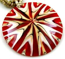 Red Natural Cone Shell Pendant Beads Necklace Handmade Women Jewelry CA387