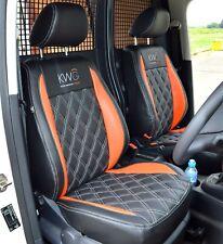 VW Caddy Genuine Fit Van Tailored Seat Covers Black & Orange & Diamond Quilting