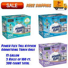 Member's Mark Power Flex Tall Kitchen Drawstring Trash Bags, 13 Gallon 200 Count
