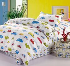 Cars Buses Airplanes Kids Boys Bedding Twin Duvet Cover Set White Red