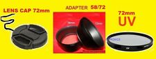 CAMERA LENS ADAPTER+UV FILTER+CAP 72mm FUJI S1600 S1700 S1730 S1770 S1800 S1880