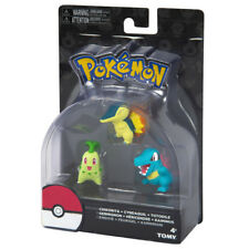 TOMY Pokemon Chikorita Cyndaquil Totodile 3 Pack Action Figure Set Authentic USA