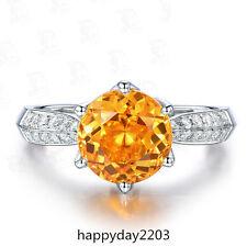 Stunning 2.34ct Natural Brazil Citrine Good Diamond Solid 14K White Gold Ring