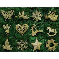 Gold Christmas Tree Pendant Baubles Fairy Snowflake Santa Decorations Ornaments