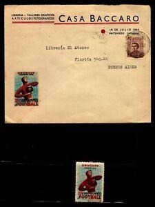 Soccer football ultra rare cover & cinderella 1942 Uruguay South America cup
