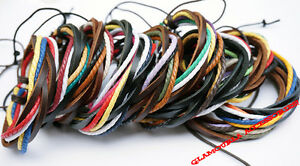 Unisex Cowhide Leather Waxed Cotton Cord Wrap Handmade Bracelet Wristband Surfer