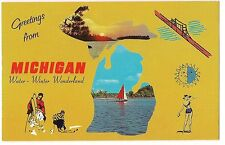 Greetings from MICHIGAN Water Winter Wonderland POSTCARD Map MULTI VIEW Pictures