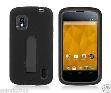 LG Nexus 4 E960 Google Phone Hybrid Armor Case Skin Cover w/ Stand Black