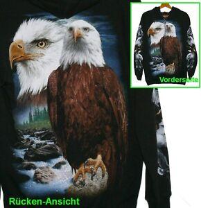 Kapuzen Jacke Adler, Gr.S M L, Indianer Eagle, Cowboy Biker Rocker, Hoodie Sweat