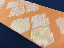 Japanese fukuro obi for kimono, for women, silk, embroidered, orange (W2650)