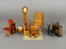 Vintage Dollhouse Dining Room Set Table Chairs Fireplace Clock Miniature