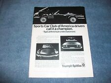 "1971 Triumph Spitfire Mark IV Vintage Ad ""SCCA Drivers Call it a Champion."""