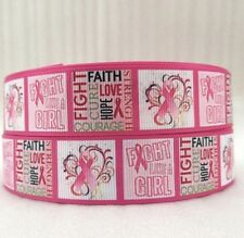 "BTY 1"" Pink Breast Cancer Ribbon Grosgrain Ribbon Lanyards Hair Bows Lisa"