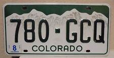 2012 COLORADO LICENSE PLATE 780 GCQ ROCKY MOUNTAINS