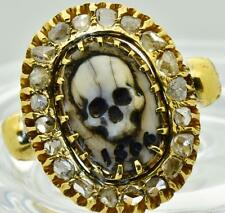 MUSEUM Victorian 18k gold&Rose Cut Diamonds Memento Mori Cameo Skull ring.c1866