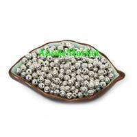 50 x silver beads jewellery making bracelet necklace acrylic plastic metal 8mm