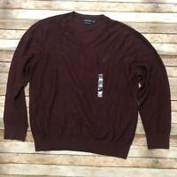 Nautical Mens Pima Cotton Blend Sweater Burgundy 2X XXL V Neck Pullover