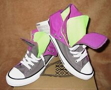 NEW CONVERSE CT TWO FOLD HI SHOE CHARCOAL GREY/PURPLE/GREEN YOUTH 2Y