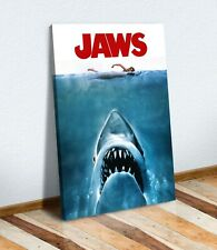 JAWS VINTAGE MOVIE POSTER CANVAS WALL ART PRINT ARTWORK SHARK READY TO HANG