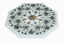 """18"""" Marble Coffee End Table Top Semi Precious stones Inlaid Christmas Gifts"""