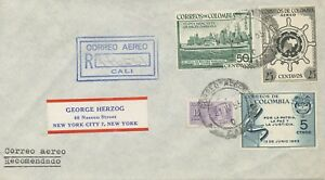 COLOMBIA 1955 int. franking superb registered airmailcover from CALI to NEW YORK