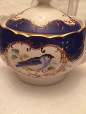Grace Teaware tea Pot -Birds ,Royal Blue With Gold Trim-new