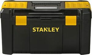 """Stanley STST1-75520 Essential Tool Box 19"""" with Plastic Latches, Black/Yellow"""