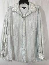Hathaway Button Front Shirt Mens Size 2XL Blue White Striped Spread Collar