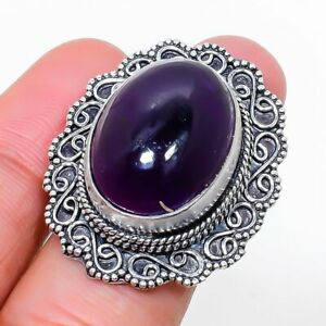Sage Amethyst Gemstone Handmade 925 Sterling Silver Jewelry Ring Size 7 n900