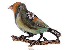 Vintage Crystal Rhinestone Enamel Sparrow Bird Costume Jewelry Pin Brooch Cute