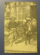Old Vintage Mexico - Ticket Office - Man with Donkey - Rppc Photo Postcard