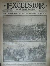 WW1 N° 1486 CANON DE 140 ANGLAIS GEORGE V ET ALBERT 1er JOURNAL EXCELSIOR 1914
