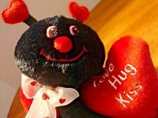 "6"" DanDee Lady Bug Red Black Plush Stuffed Animal Love Hug Kiss Heart Animal Toy"