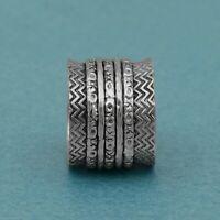 Spinner Ring! Solid 925 Sterling Silver 5 Band Meditation Fidget Men's Wide Ring