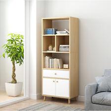 White Corner Bookshelf Bookcase Cabinet Kid Book Shelf Unit Door Shelves Drawer