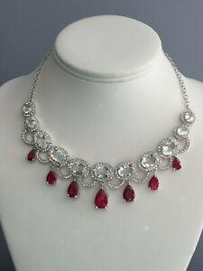 "Marilyn Monroe Ruby & Clear Crystal Statement Necklace Silvertone Brass 17 + 2"""