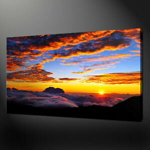 ABOVE THE CLOUDS SUNSET LANDSCAPE WALL ART CANVAS PRINT PICTURE